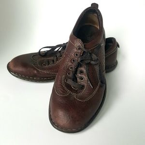 BORN Leather 8 39 Shoe Comfort Lace Walking Brown